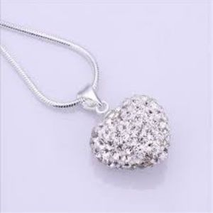 Jewelry - Jewelry Crystal white Heart Silver Plated Necklace